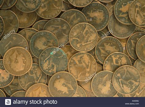 Old British coins pennies money Stock Photo - Alamy