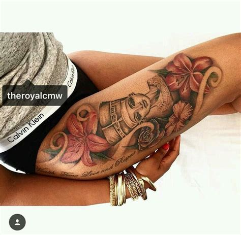 Image result for thigh tattoo collage with hamsa, ankh and